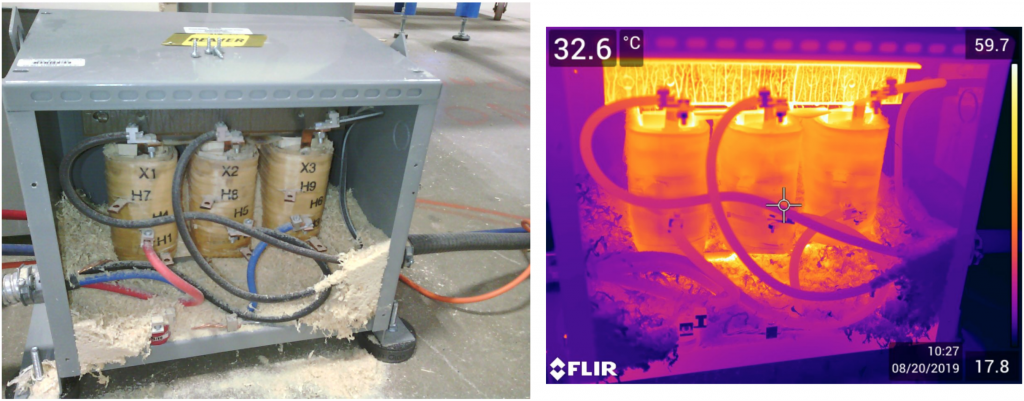 Not all issues identified during inspections are thermal related. Some are found during the process and identified as a visual issue .  This particular issue is an extremely hazardous issue and had VERY serious potential as a FIRE hazard!  This type of issue should be mitigated immediately and be noted within the organization going forward that more frequent cleanings of this equipment and of similar type should be scheduled for cleanings to avoid this kind of situation in the future.